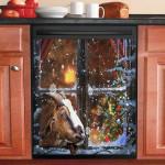 Goat In Window Snow Dishwasher Cover Sticker Kitchen Decor