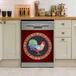 Colorful Rooster Circle Red Dishwasher Cover Sticker Kitchen Decor