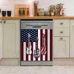 Guitar American Flag Dishwasher Cover Sticker Kitchen Decor