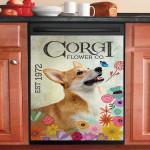 Corgi Flower Est 1972 Dishwasher Cover Sticker Kitchen Decor