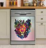 Flowers Lion Head Dishwasher Cover Sticker Kitchen Decor