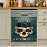 Easily Distracted By Cats And Skulls Dishwasher Cover Sticker Kitchen Decor