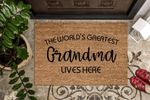 World's Greatest Grandma Lives Here Printed Doormat Home Decor