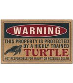 Funny Warning Highly Trained Turtle Funny Sarcastic Printed Doormat Home Decor