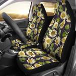 Vintage Daisy Flowers In Dark Purple Printed Car Seat Covers