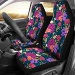 Dahlia Pattern Dark Blue Design Printed Car Seat Covers