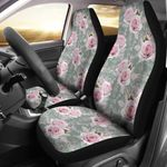 Rose White Pattern Grey Background Printed Car Seat Covers