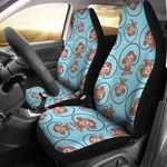 Monkey Cute Blue And Brown Design Printed Car Seat Covers