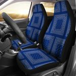 Blue And Gray Bandana Patch Printed Car Seat Covers