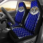 Funny Cat Face And Paw Printed Car Seat Covers