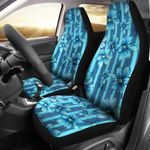 Blue Flower And Stripes Printed Car Seat Covers