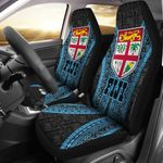 Fiji Blue And Black Printed Car Seat Covers