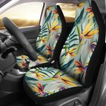 Tropical Flower Pattern Light Blue Printed Car Seat Covers