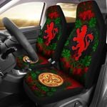 Scottish Lion With Leaf Vines Watercolor Style Printed Car Seat Covers
