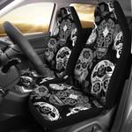 Skullistic Sugar Skulls Grey Printed Car Seat Covers
