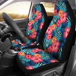 Red Hibiscus Pink And Orange Pattern Printed Car Seat Covers