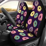 Donut Colorful Pattern Dark Blue Printed Car Seat Covers
