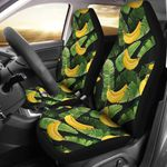 Yellow Banana And Leaf Printed Car Seat Covers