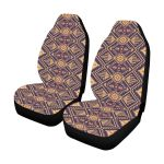 Aztec Pattern Dark Blue And Gold Printed Car Seat Covers