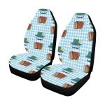 Accordion Mustache Pattern Blue Plaid Printed Car Seat Covers