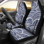 Polynesian Tribal Dark Blue And White Pattern Printed Car Seat Covers