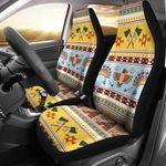 Native American Yellow And Blue Background Design Printed Car Seat Covers