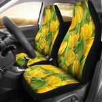 Tulip Yellow And Green Printed Car Seat Covers
