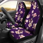 Magnolia Pattern Dark Purple Background Printed Car Seat Covers