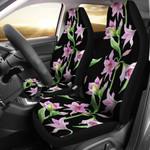 Pink Amaryllis Branch In Black Printed Car Seat Covers