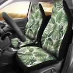 Palm Leaves Green And White Printed Car Seat Covers