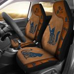 Cat Leather Brown Background Printed Car Seat Covers