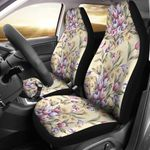 Tulip Flower On Light Yellow Printed Car Seat Covers