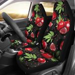 Pomegranate Pattern Red And Black Printed Car Seat Covers