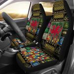 Cymru With Celtic Symbols And Tree Printed Car Seat Covers