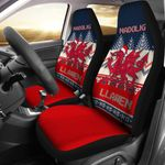 Wales Celtic Christmas Dragon Nadolig Llawen Ugly Christmas Style Blue Printed Car Seat Covers