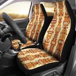 Tiki Orange Vertical Brown Pattern Printed Car Seat Covers