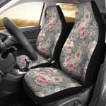 Peony Pink And White Pattern On Mint Printed Car Seat Covers