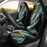 Gold Glitter Cyan Tropical Palm Leaves Pattern Printed Car Seat Covers