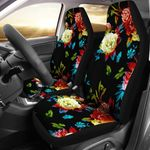 Peony Pattern And Blue Butterflies Printed Car Seat Covers