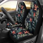 Bird Of Paradise Dark Green Leaves Black Background Printed Car Seat Covers
