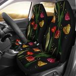 Tulip Embroidered Pattern Black Background Printed Car Seat Covers
