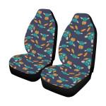 Bat Blue And Orange Pattern Printed Car Seat Covers