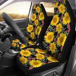 Sunflower And Pink Flower Printed Car Seat Covers