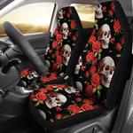 Red Rose Skull Design Printed Car Seat Covers