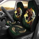 Celtic Cross Flag With Red Dragon Printed Car Seat Covers