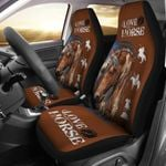 Horse Lover Brown And White Printed Car Seat Covers