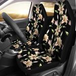 The Beauty Of Lily Pattern Black Printed Car Seat Covers