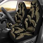 Golden Banana Leaf In Black Printed Car Seat Covers