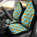 Taco Pattern Light Blue And Brown Printed Car Seat Covers