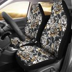 Peony Pattern Grey And Black Printed Car Seat Covers